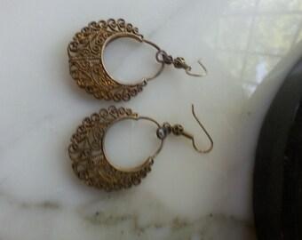 Vintage charm brass earrings
