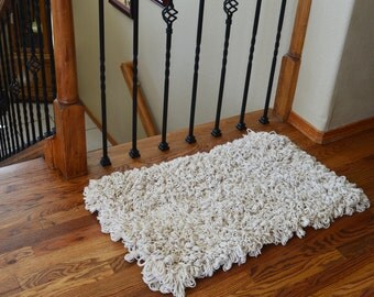 Cotton Loop Back Area Rug- Fluffy Modern Rugs- Hand Knotted Carped- Bath Mat