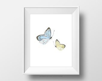 SALE -  Handpainted Butterflies, Blue Yellow, Baby Nursery, Girls Bedroom, Guest Bathroom Idea, Kitchen, Home Decor, Nature Poster