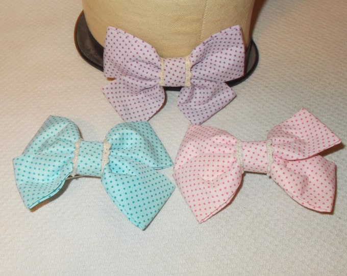 Vintage Pussy Bow Hair Clip Blue Pink Purple Polka Dot Double Bow Hair Barrettes Clip Accessories
