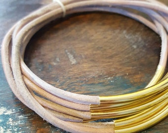 Natural Leather Cord Bangles, Set of 6, Leather Bangles with Gold Tubes, Genuine Leather