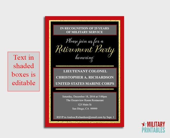 Marine Corps Retirement Party Invitation Printable Editable – Deployment Party Invitations