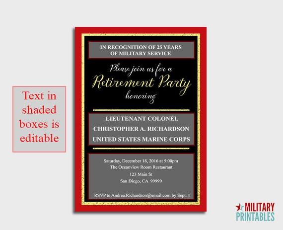 Marine Corps Retirement Party Invitation Printable Editable – Military Retirement Party Invitations