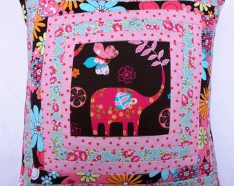 PINK ELEPHANT cute retro  style quilted  patchwork cushion pink Michael Miller, Cath Kidston fabric