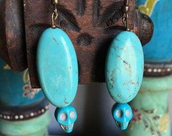 Oval Skull Turquoise Earrings