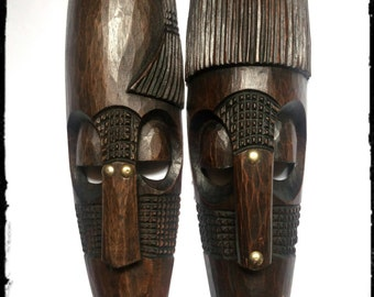 African Wooden Mask (Pair)
