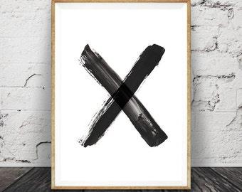 Black and White X Wall Art, Brush Stroke Cross Print, Modern Minimal Ink Painting, Home Decor, Simple, Abstract, Printable Instant Download