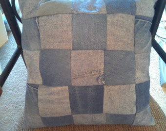 Upcycled denim pillow