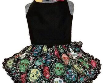 Dia De Los Muertos Small Dog Costume Dress Floral Headband