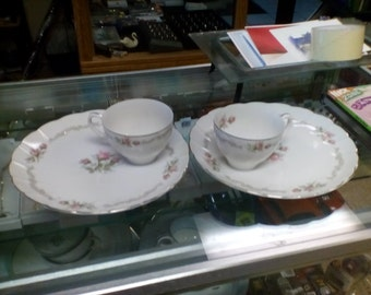 "Vintage Laurel China Snack Plates and Cups ""First Love"""