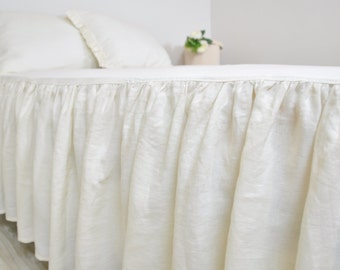 Linen Bed Skirt, Custom Dust Ruffle in Full Queen King - Ruffled, Gathered Bedskirt - Cream, Ecru, Ivory, Cottage, Shabby Chic Bedding