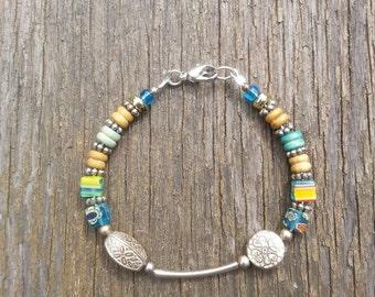 """6"""" Earthy Beaded Wire Bracelet"""