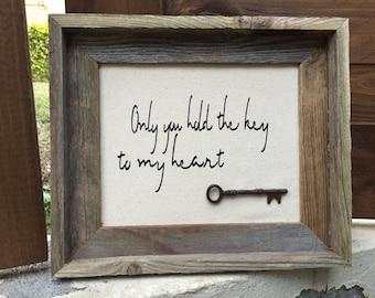 Framed Key to My Heart, Vintage Key Art {customization available}