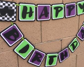 Monster truck happy birthday banner, monster truck birthday banner, monster truck party