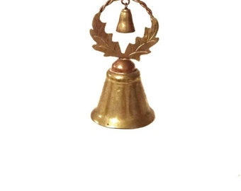 Double Brass Bell with Holly