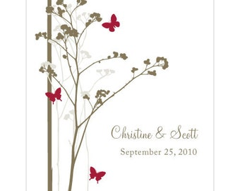 Romantic Butterfly Rectangular Label (24)- Ruby- Custom/Personalised