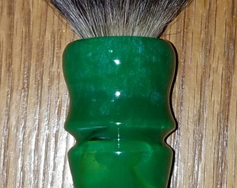 Custom Made 24mm Shaving Brush (Handle Only) Green, Clear, Blue Sheen