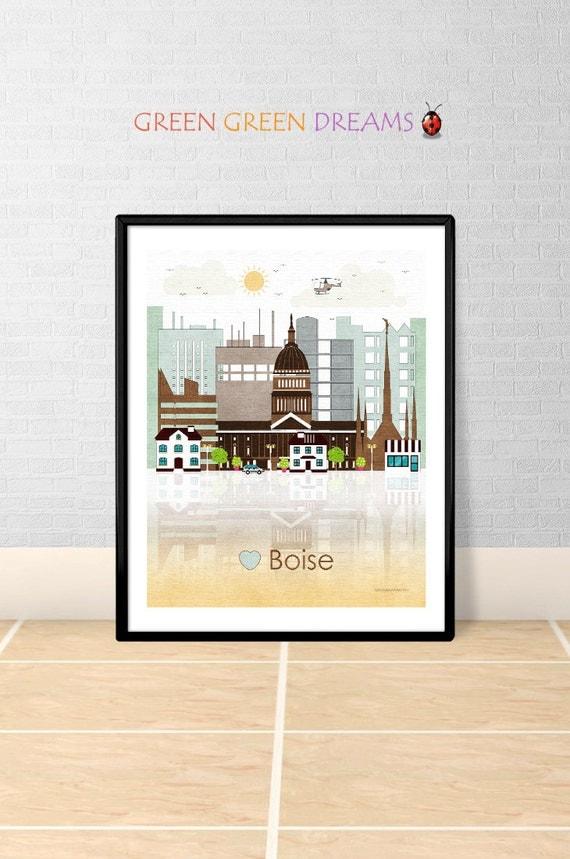 Boise Print Wall Art Poster Boise Skyline By Greengreendreams