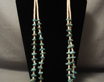Museum Quality Vintage Navajo Squaw Turquoise Necklace Old Vtg