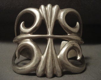 Colossal Vintage Navajo 'Thorn' Silver Bracelet