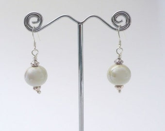 Boho bridal earrings / rustic earrings / ceramic earrings / everyday earrings / dainty earrings / wedding earrings gift for her