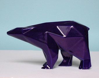 Orso poligonale in ceramica colore blu cobalto