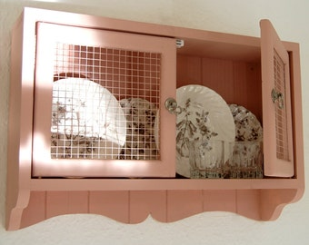 French country style mesh wall cabinet, hand crafted, shabby chic,