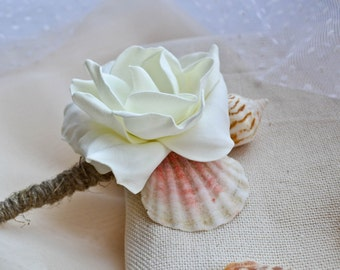 Beach Boutonniere, Shell Boutonniere, Seashell Boutonniere, Nautical Wedding.