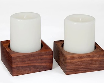 Wood Candle Holder - Set of 2, Walnut