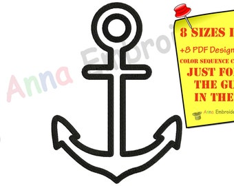 Nautical Anchor Machine Embroidery Design,anchor aplique,anchor embroidery,filled stitch,machine patterns,8 sizes,8 formats,INSTANT DOWNLOAD