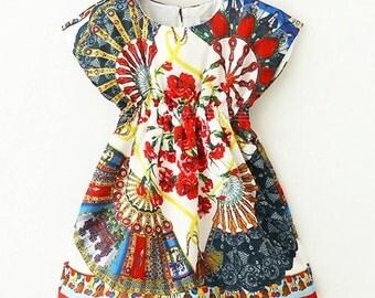Asian Fan Print Dress