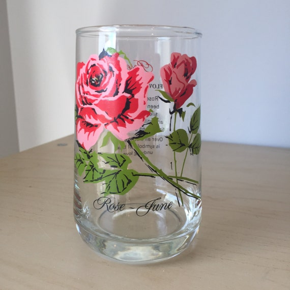 Vintage Flower Of The Month Series Drinking Glass June Roses