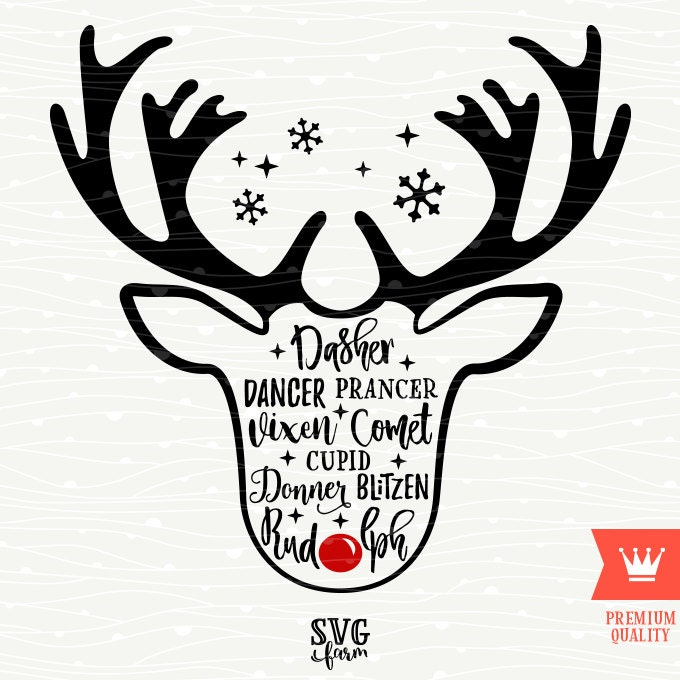 Santa Claus Christmas Reindeer Names SVG Decal Cutting File