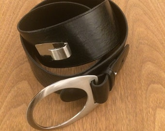 Large Black Leather Belt