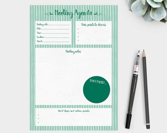 Printable meeting agenda - plan and record your business meetings. Business resource.