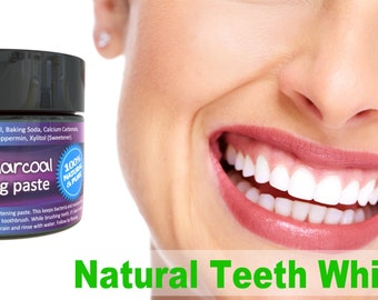 Teeth Whitening Paste Activated Charcoal, coconut oil, Calcium Carbonate, baking soda,  Myrrh Gum, peppermint, kaolin clay, Sweetner