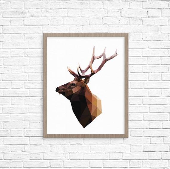 Geometric Purple Deer Wall Art Print Modern Poster Buck: Geometric Deer Head Print_Contemporary Art By StudioUsh On