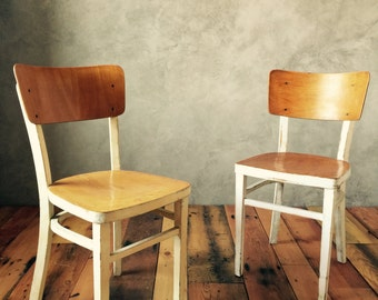 Vintage Wood Farmhouse Chairs, Bent Plywood and Curved Legs with Assorted Colors