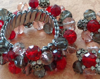 Vintage Expansion Bracelet Earrings Signed VOGUE Pink Red Silver Tone