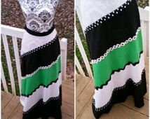 Green , Black and White A Line Maxi Skirt/Small Waist