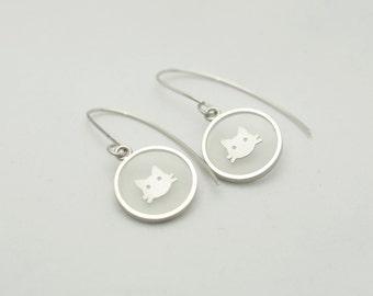 Resin Earrings, Cat Face Earrings, Silver Earrings