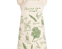 Cocina con Amor - APRON , Cook with love, Cook with love, cotton, herbs, salad lover, kitchen essential, cool gift