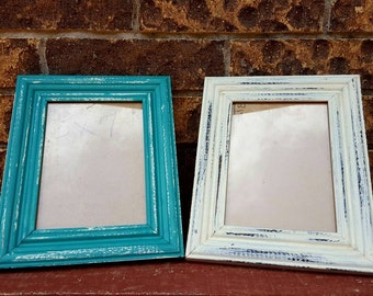 Distressed picture frame set, rustic picture frame, distressed 5x7 picture frames, shabby chic frames, turquoise