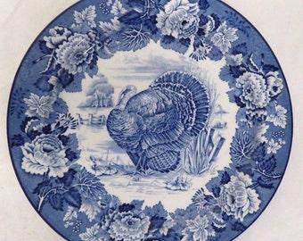 Vintage Wood's & Sons Burslem England Turkey Dinner Plate Blue