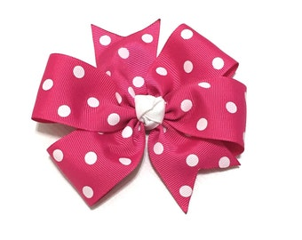 Hot pink polka dot hair bow - Girls hair bow - Polka dot bow - Valentine's Day - Girls hair accessories - Hot pink polka dot bow - Girls bow