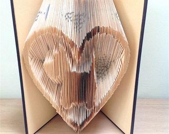 SCOTTIE DOG in Heart - Book Folding Pattern. DIY gift for folded book art. Gift for dog lover. Westie. Highland Terrier. Scottish Terrier