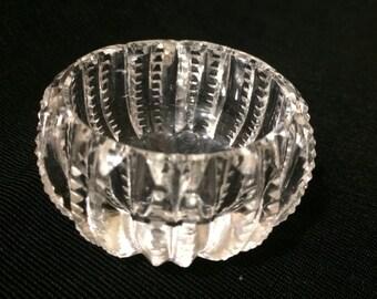 """Circular Glass Salt with """"Zippers"""""""