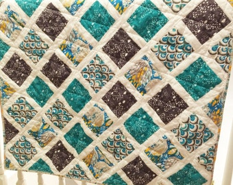 Baby Quilt, Baby Blanket, Blue Baby Quilt, Turquoise Baby Quilt, Toddler Quilt, Nursery Decor, Blue and Turquoise, Baby Quilt Teal
