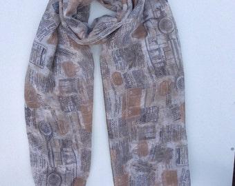 Grey scarf, car scarf, spring, summer scarf, ladies accessories, gift ideas, infinity scarf, everyday scarf.