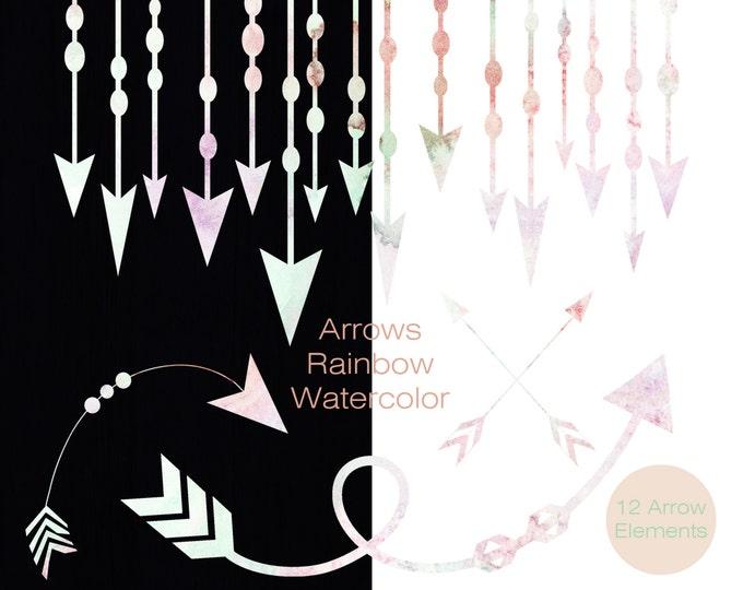 PINK & MINT ARROW Clipart Commercial Use Clip Art Watercolor Arrow Graphics Arrow Border Banner Frames Clipart Tribal Watercolour Images